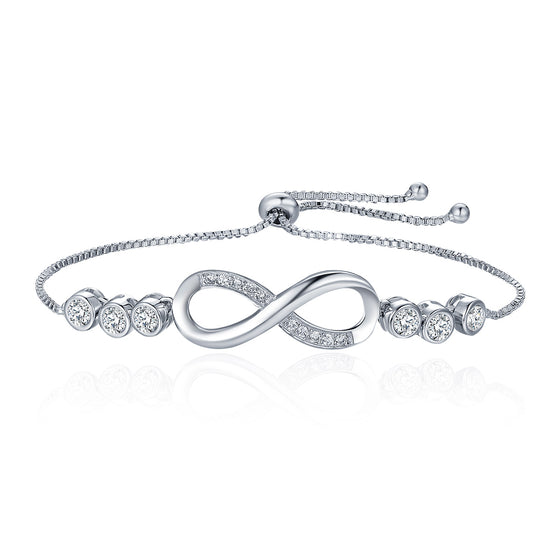 Popular Silver Color Endless Love Infinity Bracelet Lace up Tennis Bracelets for Women Fashion Jewelry YIB037