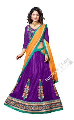 Lehenga - Attractive Heavy Work Designer Lehenga Collection - Royal Purple, Blue And Yellow Most Beautiful 3 Piece Semi Stitched Lehenga Collection For Party / Wedding / Special Occasion - Semi Stitched, Blouse - Ready to Stitch - Boutique4India Inc.
