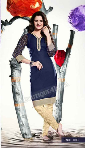 Navy Color Ravishing Rayon Fabric Kurti
