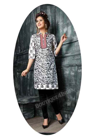 Black Ravishing Printed Cotton Kurti