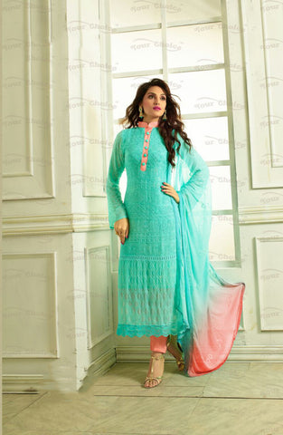 Designer Embroidery Long Salwar Suit Collection - Ready To Stitch Material / Breezy Blue And Peach  Material Heavy Lace And Embroidery Work Straight Cut Long Salwar Suits For Party / Wedding / Special Occasions - Ready to Stitch - Boutique4India Inc.