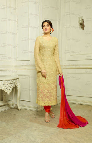 Designer Embroidery Long Salwar Suit Collection - Ready To Stitch Material / Golden And Red Heavy Lace And Embroidery Work Straight Cut Long Salwar Suits For Party / Wedding / Special Occasions - Ready to Stitch - Boutique4India Inc.