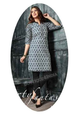 Black and Grey Ravishing Printed Cotton Kurti