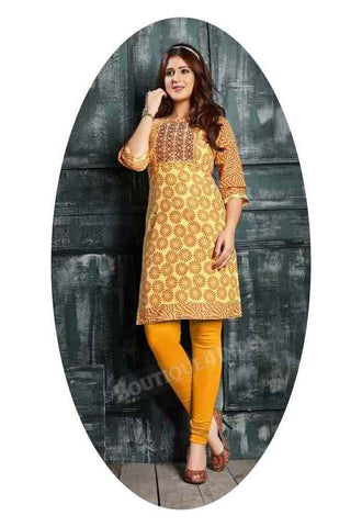 Light yellow Ravishing Printed Cotton Kurti