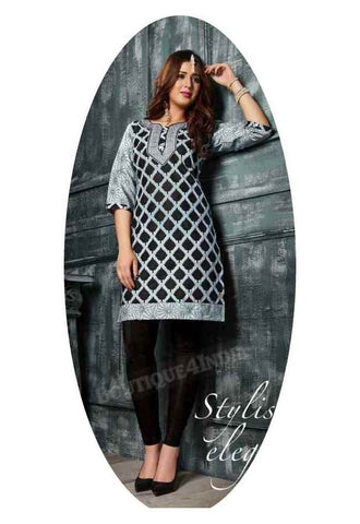 Checkered Black Ravishing Printed Cotton Kurti