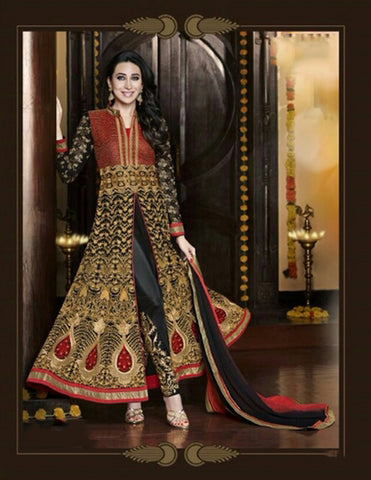 Exquisite Heavy Work Wedding Collection- Rich Red, Black And Golden Top To Bottom Rich Work Designer Wedding Stunning Collection / Party / Wedding / Festival / Special Occasion - Ready to Stitch - Boutique4India Inc.