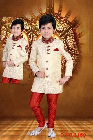Boy's - Cream / Golden And Ruby Red Sherwani Suits - Boy's Party And Wedding Collection Sherwani Suits For Special Occasions - Boutique4India Inc.