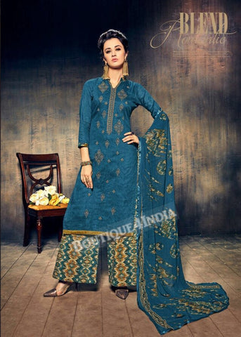 Chathams Blue Pure Jam Silk Cotton Salwar Palazoo Suit