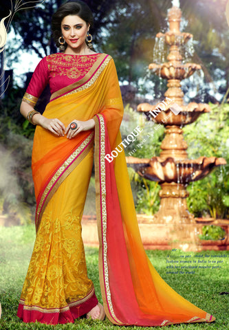 Net Faux Chiffon Saree with Orange, Ruby Red and Golden - Boutique4India Inc.