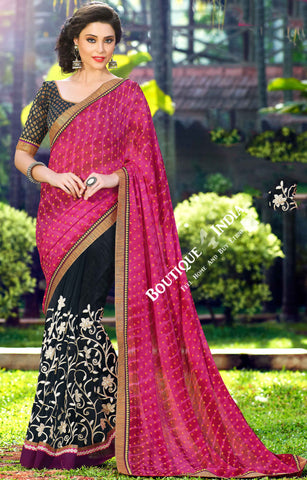 Net Faux Chiffon Saree - Silky Hot Pink and Golden - Boutique4India Inc.