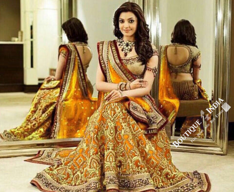 Gorgeous Bridal Lehnga - Mustard And Golden Semi Stitched Bridal Lehnga With Embroidery Peal And Jhumka Work. Stunning Collections For Wedding, Party, Festival, Special Occasion - Semi Stitched, Blouse - Ready to Stitch - Boutique4India Inc.