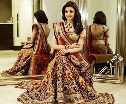 Gorgeous Bridal Lehnga - Maroon And Golden Semi Stitched Bridal Lehnga With Embroidery Peal And Jhumka Work. Stunning Collections For Wedding, Party, Festival, Special Occasion - Semi Stitched, Blouse - Ready to Stitch - Boutique4India Inc.
