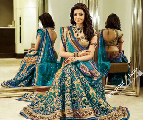 Gorgeous Bridal Lehnga - Ferozi And Golden Semi Stitched Bridal Lehnga With Embroidery Peal And Jhumka Work. Stunning Collections For Wedding, Party, Festival, Special Occasion - Semi Stitched, Blouse - Ready to Stitch - Boutique4India Inc.