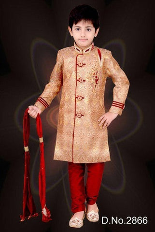 Boy's - Cream  White, Golden And Maroon Sherwani Suits - Boy's Party And Wedding Collection Sherwani Suits For Special Occasions - Boutique4India Inc.