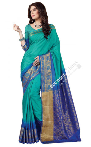 Jacquard Silk Saree in Turquoise, Blue and Golden Jarri - Boutique4India Inc.