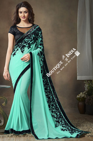 Net and Chiffon Silk Saree in Blue and Black - Boutique4India Inc.