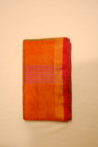 Uppada Tissue Silk  Saree in Goldenish Orange and Green Color