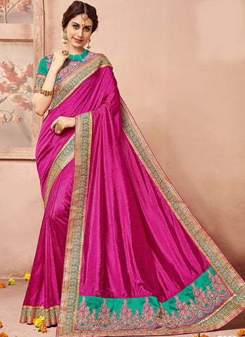 Pink Art Silk Party Wear Heavy Embroidered Saree