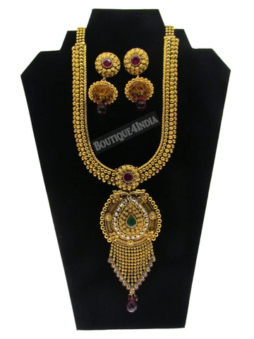 Antique style 30 inches Indian haaram necklace with big jhumkis