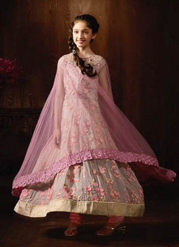 Girl's Pink Georgette Anarkali Suit