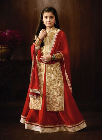 Girl's Beige Raw Silk Embroidered Anarkali Suit