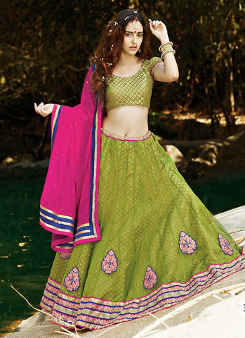 Amazing Green Embroidered Wedding Lehenga Choli