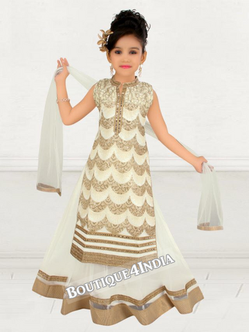 Girls half white 4 pc. Churidar Suit