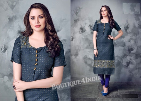 Denim winter wear desi kurti -3