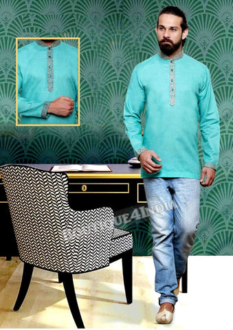 Green Cotton Men's Kurta