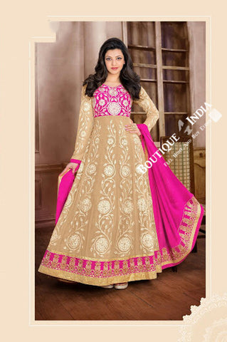 2-1 Salwar And Lehenga Heavy Work Wedding Designer Collection - Hot Pink And Ivory Resplendent Unique Designer Wear Salwar Convertible Lehenga / Party Wear / Wedding / Special Occasions / Festivals - Semi Stitched, Blouse - Ready to Stitch - Boutique4India Inc.