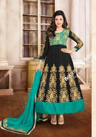 2-1 Salwar And Lehenga Heavy Work Wedding Designer Collection - Turquoise, Black And Golden Resplendent Unique Designer Wear Salwar Convertible Lehenga / Party Wear / Wedding / Special Occasions / Festivals - Semi Stitched, Blouse - Ready to Stitch - Boutique4India Inc.