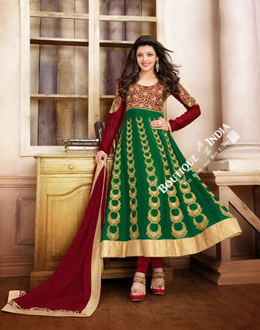2-1 Salwar And Lehenga Heavy Work Wedding Designer Collection - Elegant Green, Maroon And Golden Resplendent Unique Designer Wear Salwar Convertible Lehenga / Party Wear / Wedding / Special Occasions / Festivals - Semi Stitched, Blouse - Ready to Stitch - Boutique4India Inc.