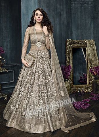 Beige Net Satin Bridal Wear Anarkali