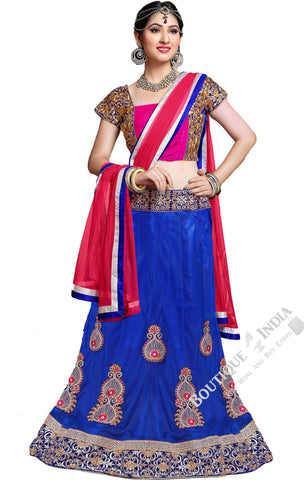 Lehenga - Attractive Heavy Work Designer Lehenga Collection - Rich Blue And Hot Pink Most Beautiful 3 Piece Semi Stitched Lehenga Collection For Party / Wedding / Special Occasions - Semi Stitched, Blouse - Ready to Stitch - Boutique4India Inc.