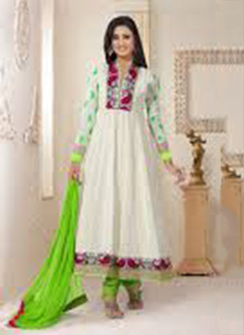 White Georgette Party Wear Anarkali Suit