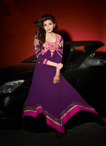 Purple Georgette Party Wear Anarkali Suit