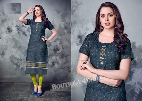 Denim winter wear desi kurti -5