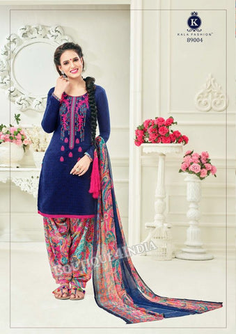 Violet Pashmina self Embroidered Patiala Kameez