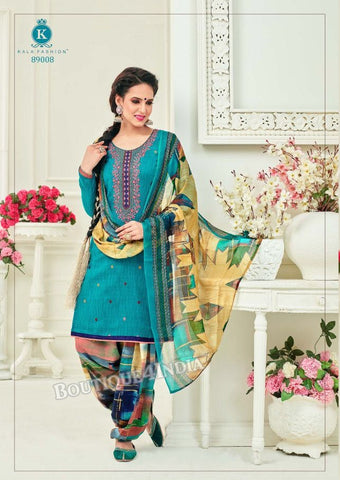 Blue Chill Pashmina self Embroidered Patiala Kameez
