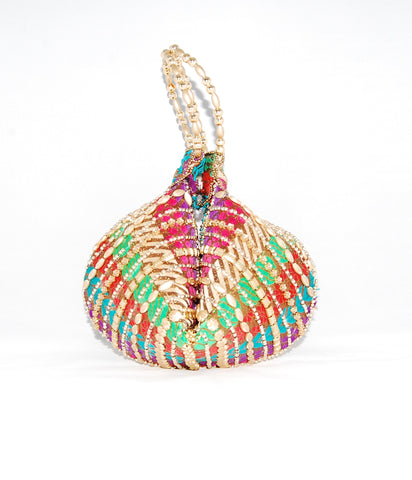 Multicolor Wristlet Brocade Beaded Bangle Bag Clutches - Boutique4India Inc.