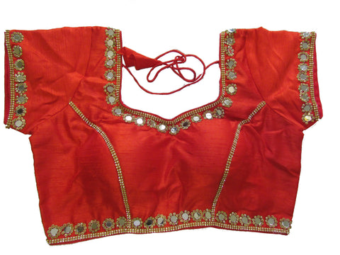 Maroon dupion silk brocade padded mirror work blouse