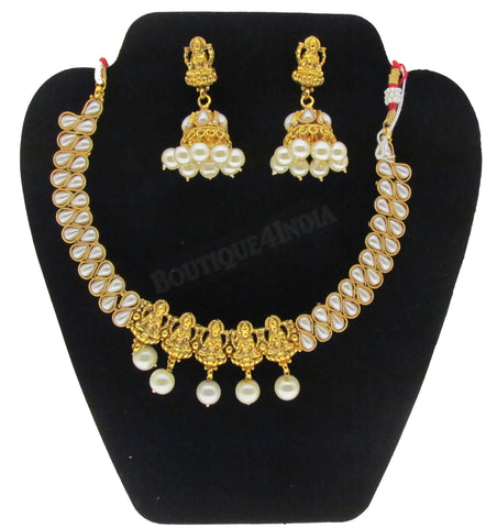 Amazing Pearl studded Lakshmi temple jewelry with matching Earrings set
