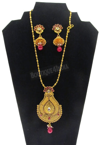 Bollywood style designer 24 inches long Necklace with matching Earrings set