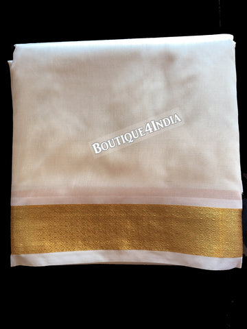 Cream color silk dhoti with big golden border