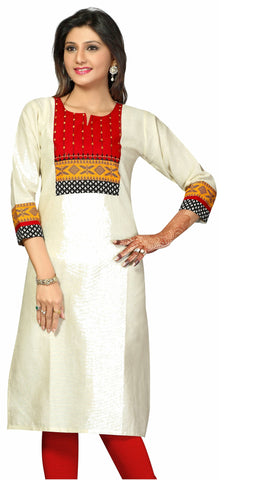 Off white 3/4th Cotton silk Khadi kurti Rajasthani style neckline