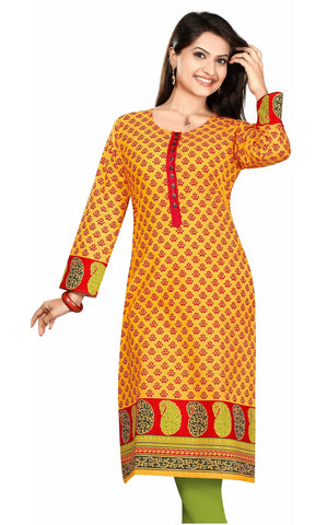 Orange 3/4th Sleeves Cotton Printed Kurti with Printed Border