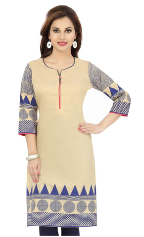 Beige blue long cotton tunic with designer prints - Boutique4India Inc.