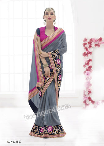 Sarees - Grey and Pink Bridal Collections