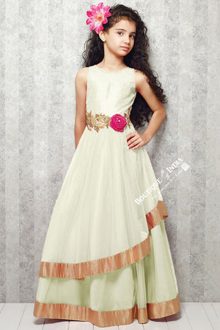 Girl's - White With Golden Casual Gown/Dress - Gilr's Casual And Party Collection Gowns - Boutique4India Inc.