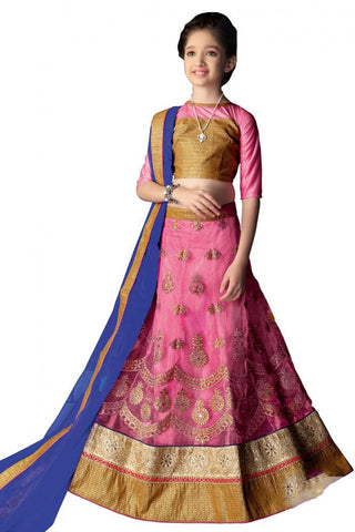 Girl's - Pink, Blue And Golden Heavy Work - Lehenga / Half Saree - Gilr's Party And Wedding Collection Lehenga Set For Special Occasions - Semi Stitched, Blouse - Ready to Stitch - Boutique4India Inc.